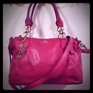 Hot Pink Leather Coach Handbag